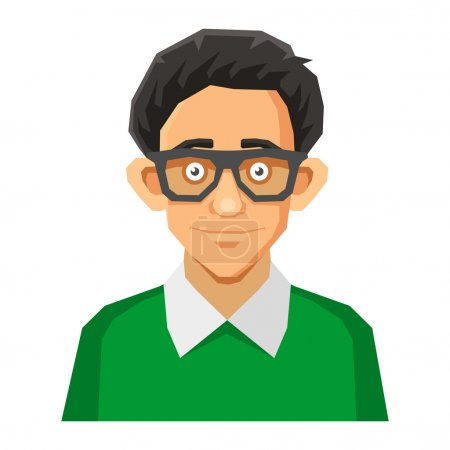 Illustration for Portrait of Nerd with Glasses and Green Pullover. Vector illustration - Royalty Free Image