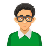 Cartoon Style Portrait of Nerd with Glasses and Green Pullover Vector