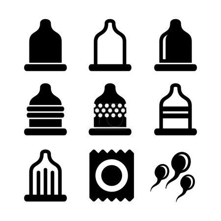 Condom Icons Set. Vector