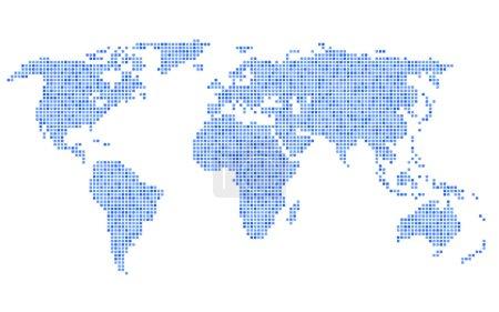 Illustration pour Carte du monde bleue pointillée sur fond blanc. Illustration vectorielle - image libre de droit
