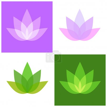Illustration for Lotus Symbol Icons Set. Yoga and Spa Logo. Vector illustration - Royalty Free Image