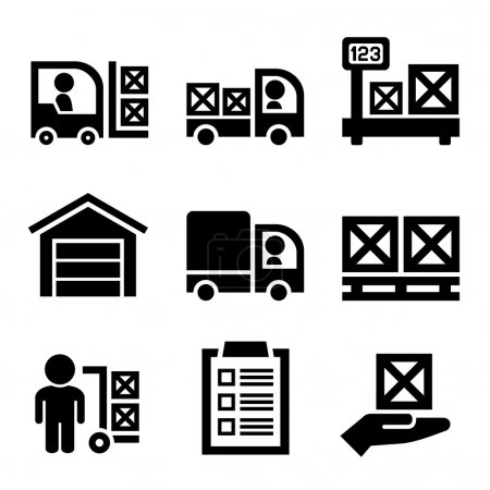 Warehouse Storage and Logistic Icons Set. Vector