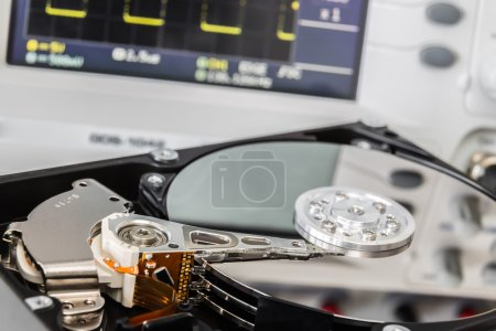 HDD in a test laboratory ready for data recovery or repair