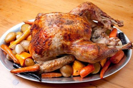 roasted turkey dinner with seasonal vegetables