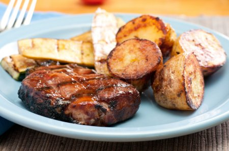 grilled pork neck chops, ethically farmed