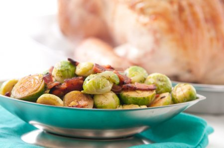 brussel sprouts and roast turkey