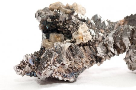 Photo for Arsenopyrite metal mineral sample with quartz crystals and granite - Royalty Free Image