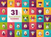 Farm animals flat icons set Vector head