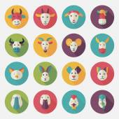Farm animals flat icons with long shadow