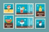 Summertime stamp set flat vector eps 10