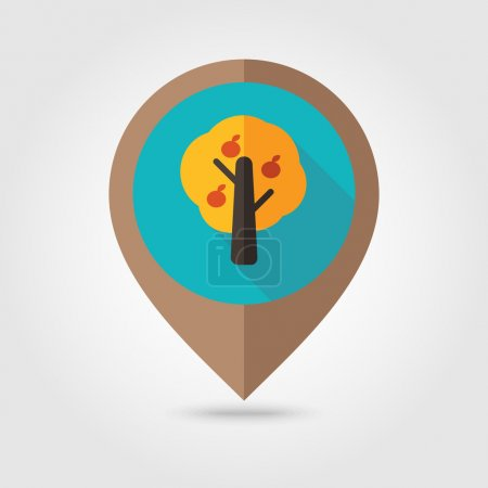 Illustration for Fruit tree flat mapping pin icon, map pointer, vector illustration eps 10 - Royalty Free Image