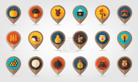 Autumn Harvest Thanksgiving flat mapping pin icon