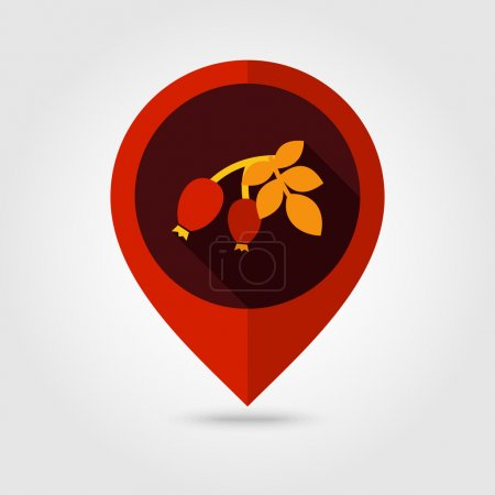 Rosehip branch with red berries flat pin map icon