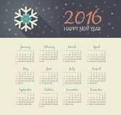 Kalendář 2016 rok s vánoční vločka