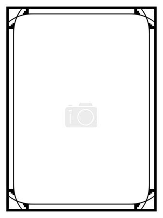 Illustration for Vector Art Deco black calligraph ornamental decorative frame pattern - Royalty Free Image