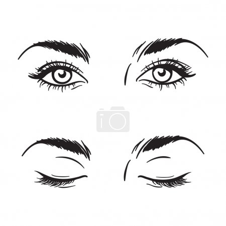 Illustration for Isolated black and white beautiful female eyes set - open and closed. Makeup blank template vector illustration - Royalty Free Image