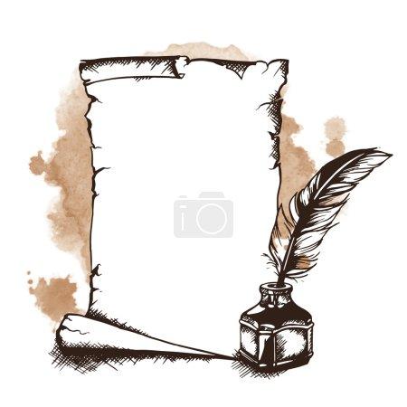 Illustration pour Rouleau de papier dessiné à la main, plume et encrier. Illustration vectorielle - image libre de droit