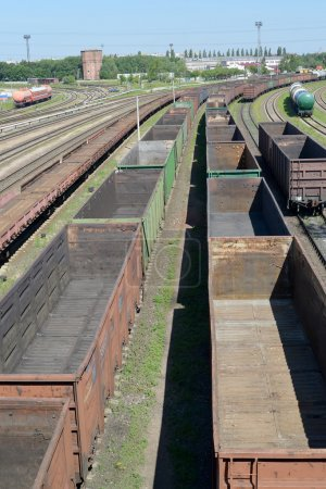 Empty freight trains stand Kaliningrad-sorting on the ways of railway station