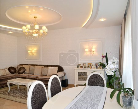 Drawing room interior in light tones, modern classics