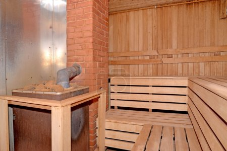 Sauna interior with the furnace