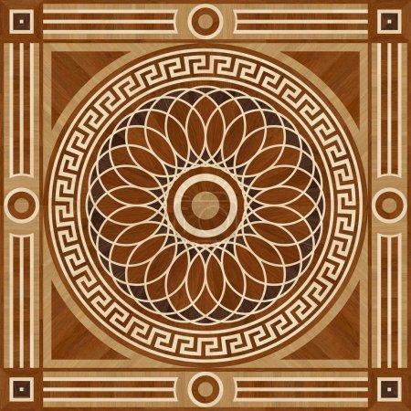 Medallion design parquet floor, wooden seamless texture for 3D interior