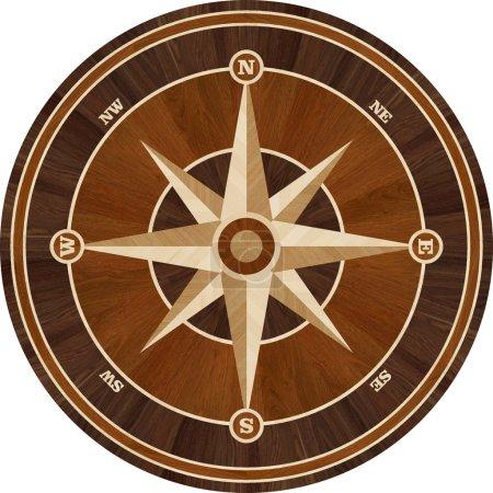 Medallion design parquet floor, compass rose