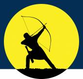 Archers hunting at dawn Sports competitions in archery Logo for the archer