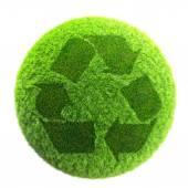 Recyklované symbol na planetě trávy