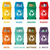 Verschiedene farbige Recycling Abfalleimer-Vektor-Illustration, Abfall