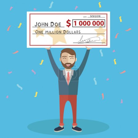 Man holding winning check