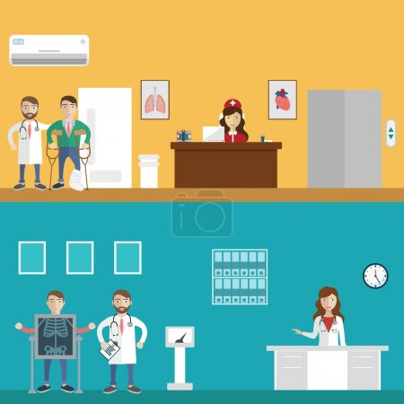 Clinical Reception and MRI Scanner flat hospital interior medical concept web. Nuclear magnetic resonance imaging tomography. Vector Illustration