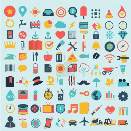 Flat icons design modern set of various financial service items, web and technology development, business management symbol, marketing items and office equipment