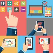Reihe von Händen mit Business-Internet-Service und e-Commerce. Smartphone und Tablet-PCs