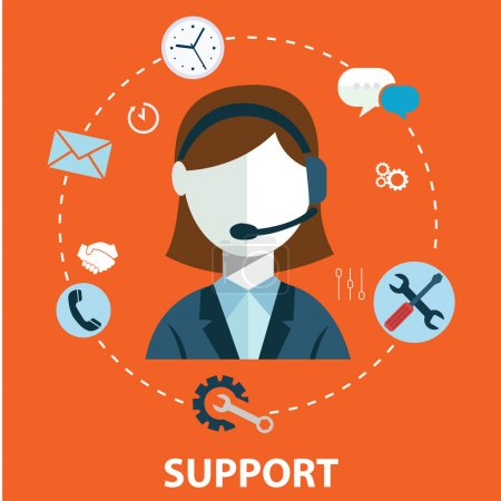 Illustration for Business customer care service concept flat icons set of contact us support help desk phone call and website click for infographics design web elements vector illustration - Royalty Free Image
