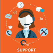 Business customer care service concept flat icons set of contact us support help desk phone call and website click for infographics design web elements vector illustration