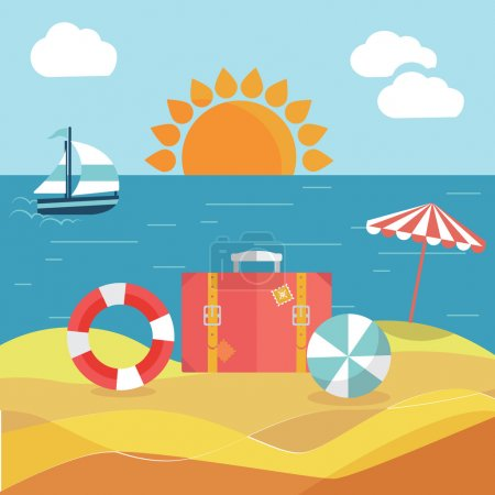 Illustration for Traveling, summer vacation, tourism and journey, passenger luggage in flat design. beach, sand and sea - Royalty Free Image