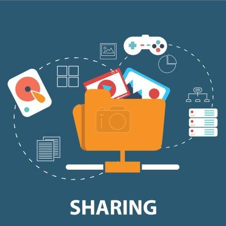 Illustration pour Icônes pour les réseaux sociaux, du dossier des services de partageurs, de shopping en ligne et mobiles - image libre de droit