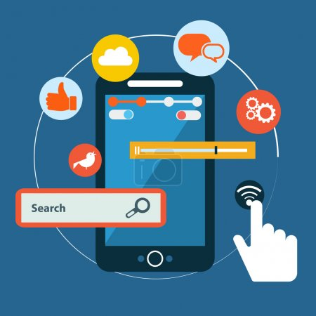 Social media touch technology concept
