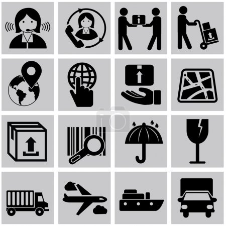 Vector logistic, delivery and shipping icon set