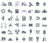 Industry energy and construction icons set industrial and engineering