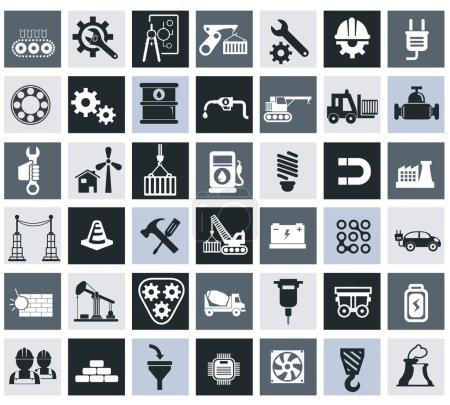 Illustration pour Ensemble d'icônes de l'industrie, de l'énergie et de la construction, industrie et ingénierie - image libre de droit