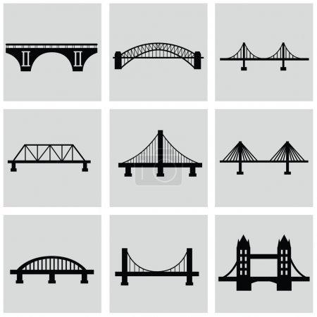 Vector isolated bridges icons set