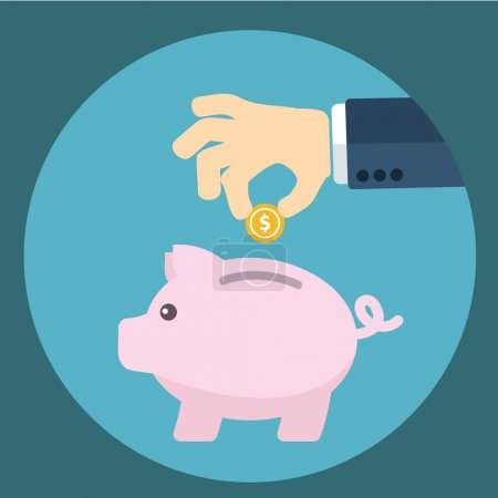 Vector piggy bank concept in flat style - money savings , Inserting a coin into a piggy bank