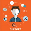 Business customer care service concept flat icons ...
