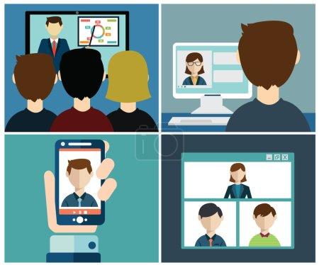 Illustration pour Vidéo conférence. Communication commerciale . - image libre de droit