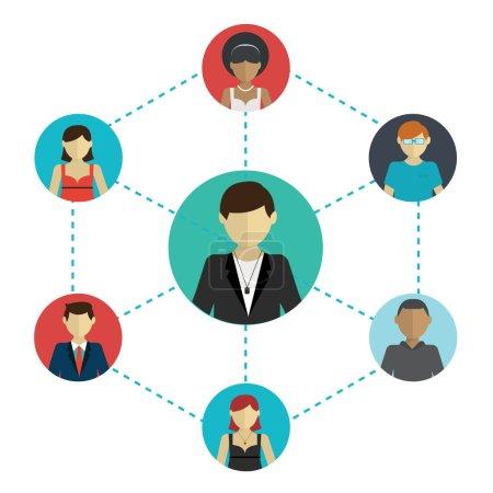 Illustration pour Réseautage - les liens sociaux entre les gens : affaires, amitié, communication des intérêts. Illustration vectorielle . - image libre de droit