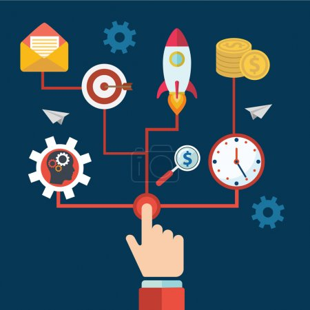 Illustration for Concept of a business and entrepreneurship business start or launch with gears and cogs with various icons for industry and business held by hands one pushing the start button - Royalty Free Image