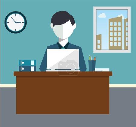 Businessman hard work on office vector illustration