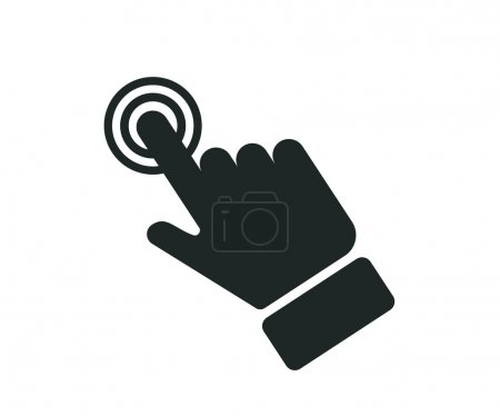 Hand touch icon on the screen, vector