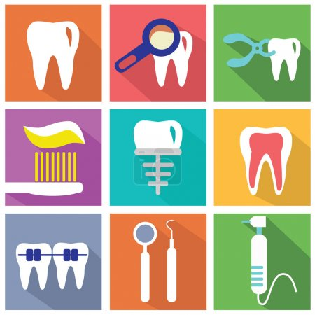 Dental icons. Tooth, teeth icons on color background